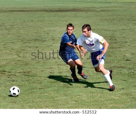 Soccer players scramble