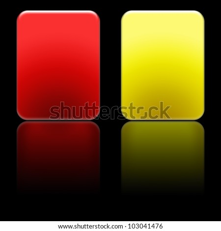 Soccer Referee Cards with Reflection Effect