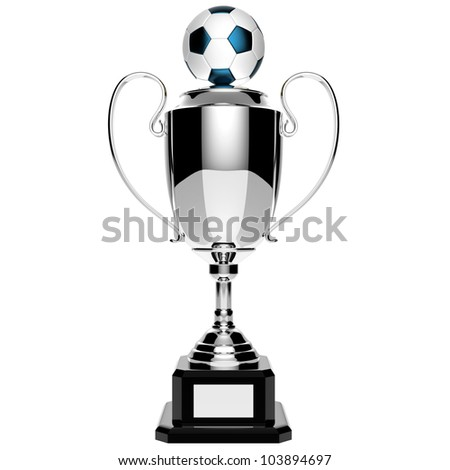 Soccer silver award trophy isolated on white background with clipping path.