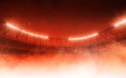 soccer stadium on red steam background