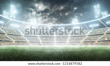 Soccer stadium. Professional sport arena. Night stadium under the moon with lights, fans and flags. Background