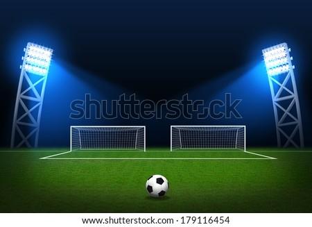Soccer stadium, soccer ball on green stadium, arena in night illuminated bright spotlights, soccer goal