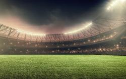 soccer stadium with illumination, green grass and night sky