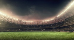 soccer stadium with illumination, green grass and night sky