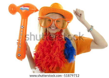 soccer supporter in orange outfit with blown up hammer over white background