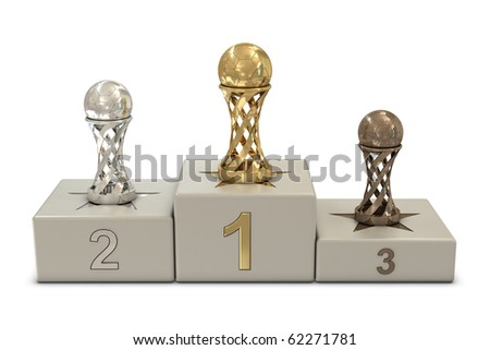 Soccer trophies and podium isolated on white background