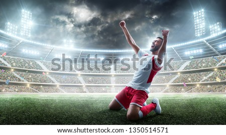 Soccer wins. Professional soccer player celebrates winning the open stadium. Sport.