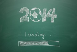 Soccer with 2014 year concept, writing on blackboard
