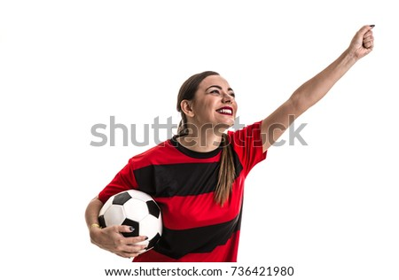 Soccer woman on red and black uniform isolated on white background #736421980
