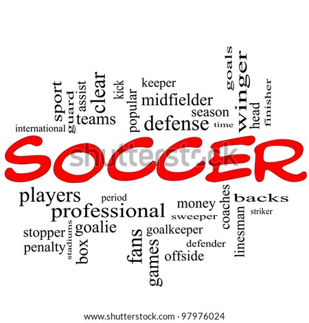Soccer Word Cloud Concept in red scribbles with great terms such as goal, fans, goalkeeper, midfielder and more.