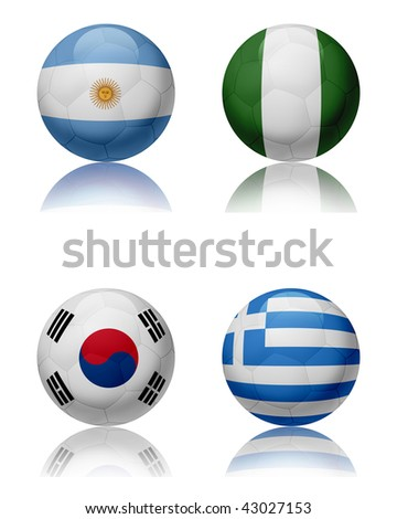 Soccer world championship - South Africa Four soccer balls representing the national teams of the Group B.  Top left:Argentina - Top right:Nigeria - Bottom left:SouthKorea - Bottom right:Greece