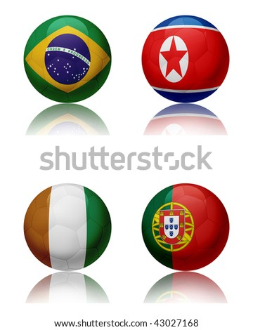 Soccer world championship - South Africa Four soccer balls representing the national teams of the Group G.  Top left:Brazil - Top right:NorthKorea - Bottom left:IvoryCoast - Bottom right:Portugal