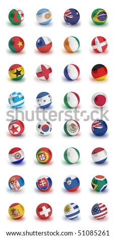 Soccer World Cup 2010 participating countries - complete set of soccer balls of all competing nations