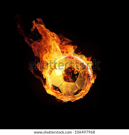 Soccerball on Fire or burning Soccerball on black