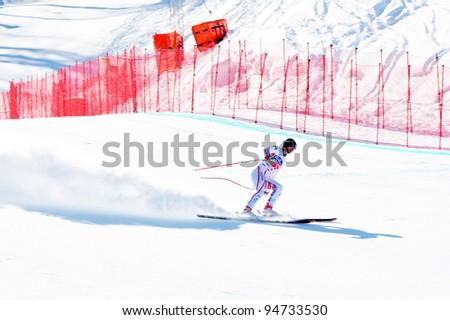 SOCHI, FEBRUARY 8: FIS Alpine Ski World Cup  2011/2012 in February 8, 2012 Sochi, Russia, ski resort Rosa Khutor. Finishing Didier Defago (Switzerland)