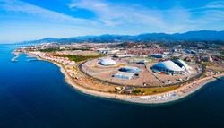 Sochi Olympic Park aerial panoramic view. Park was constructed for the 2014 Winter Olympics and Paralympics.