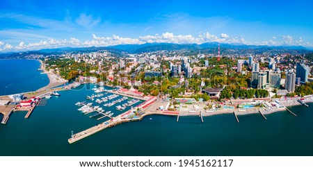 Sochi port and beach aerial panoramic view in Sochi. Sochi is the resort city along the Black Sea in Russia.