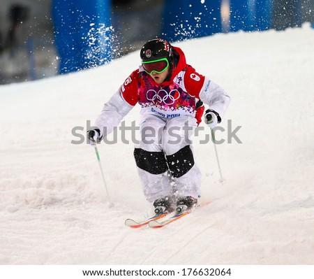 SOCHI RUSSIA FEB 10 2014 Alex BILODEAU CAN at Men's Moguls Final of Freestyle skiing at Sochi 2014 XXII Olympic Winter Games