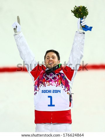 SOCHI RUSSIA FEB 10 2014 Alex BILODEAU CAN at Men's Moguls flower ceremony of Freestyle skiing at Sochi 2014 XXII Olympic Winter Games