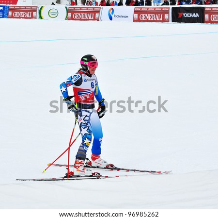 SOCHI, RUSSIA - FEBRUARY 18: Alice McKennis competes in the FIS Alpine Ski World Cup  2011/2012 on February 18, 2012 Russia, Sochi, Rosa Khutor.