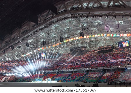 Sochi RUSSIA February 7 2014 Opening ceremony of Sochi 2014 XXII Olympic Winter Games