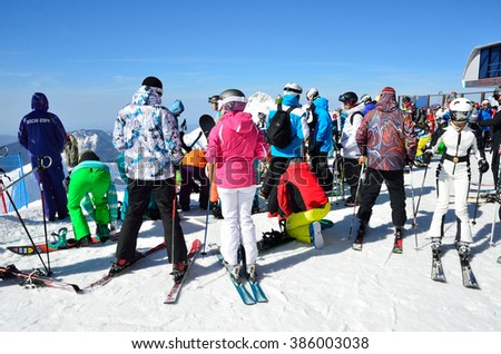 Sochi, Russia, February, 27, 2016,  People relax on ski resort Rosa Khutor #386003038