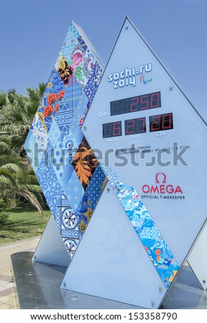 SOCHI RUSSIA JUNE 30 Olympic countdown clock time before the XXII Olympic and XI Paralympic Winter Games of 2014 in Sochi Russia June 30 2013 in Sochi Russia