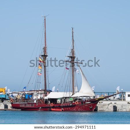 "SOCHI, RUSSIA - 16 MAY, 2014. The Spanish schooner ""Atyla"" in Sochi port. #294971111"