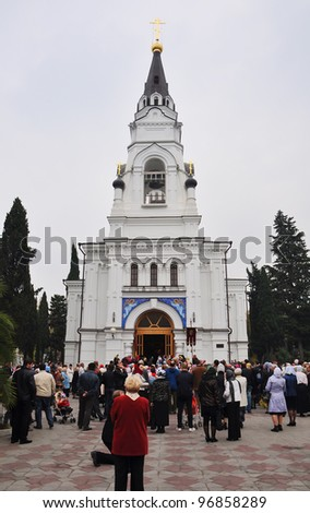 SOCHI, RUSSIA - NOVEMBER 21: Parishioners of the Cathedral of Archangel Michael in Sochi celebrate a patron saint's day on November 21, 2010