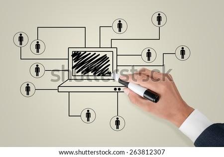Social. Business man drawing social network