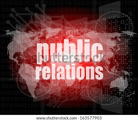 social concept: public relations words on digital screen, raster