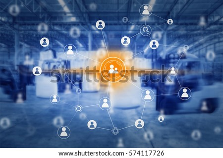 Social connection and networking for distribution of goods in warehouse process , Logistic Import Export background  #574117726