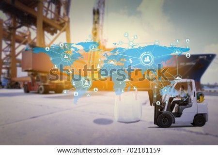 Social connection and networking Logistic Import Export background (Elements of this image furnished by NASA) #702181159