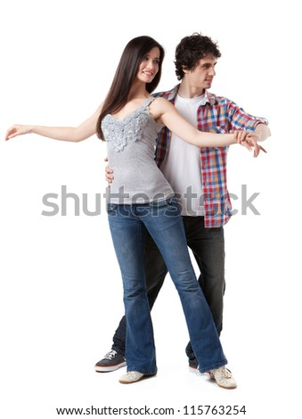 Social dance West Coast Swing. Demonstration of a free spin pose.
