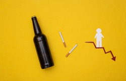 Social degradation from alcohol and nicotine addiction concept