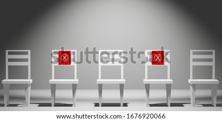 Social distance concept. keep spaced between each chairs make separate for social distancing, increasing physical space between people to avoid spreading illness during transmission of COVID-19. 3D
