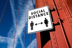 SOCIAL DISTANCE sign informing people to stay apart & keep away from each other,prevention & protection of Coronavirus spread & transfer,COVID-19 pandemic outbreak,new normal rules & regulations