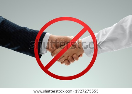 Social distancing banner, handshake is prohibited. Prohibition sign concept, hygiene measures, COVID-19, business Foto stock ©