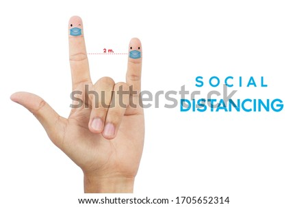 Social distancing prevention coronavirus covid-19. Fingers simulating people raising awareness about social distancing and Telling love. On a white background clipping path.
