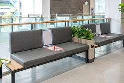 Social distancing Public seats protect corona virus spreader at shopping mall. Empty seats in shopping mall with new social distancing protect rules during pandemic of coronavirus in Thailand