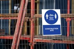 Social distancing sign at work keep 2m apart