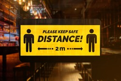 Social Distancing sign of a bar, restaurant or pub. Concept of new normal protocol in food and bar establishments.