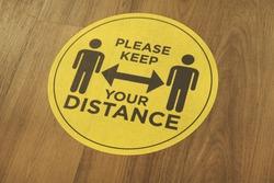 social distancing sticker wood floor