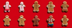 Social diversity. Red conceptual background. Individuality freedom. Pandemic party. Different gender multiethnic gay gingerbread men without face masks keeping distance isolated on bright.