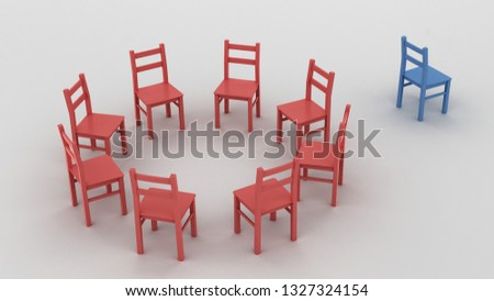Social exclusion, bullying, depression, racism and loneliness concept 3d illustration. Red chairs in a circle with a blue chair set aside as a symbol of being different and not accepted.