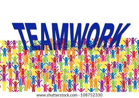 Social group hold teamwork word