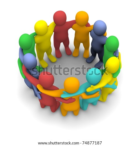Social group of friends. 3d rendered illustration isolated on white.