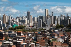 Social inequality in Salvador city: Favela and buildings.