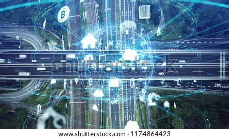 Social infrastructure and communication technology concept. IoT(Internet of Things). Autonomous transportation.  #1174864423
