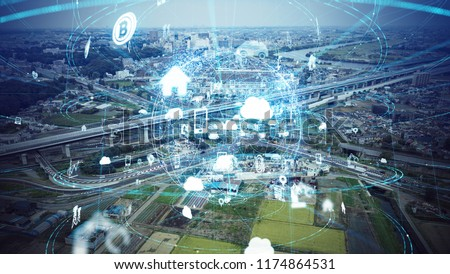 Social infrastructure and communication technology concept. IoT(Internet of Things). Autonomous transportation.  #1174864531